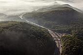 aerial, German Autobahn, A 2, Weser Hills, motorway, highway, freeway, speed, speed limit, traffic, landscape,  infrastructure, Germany
