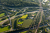 aerial, German Autobahn, A 3, junction A 40, interchange, motorway, highway, freeway, speed, speed limit, traffic, landscape, infrastructure, near Duisburg, Germany