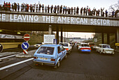 historic opening of the east German border, autobahn, celebration, east German Trabant cars, crowds, welcoming,transit  traffic, 1989, Germany