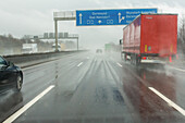 German Autobahn, A2, driving in rain, spray, visibility, weather conditions, windscreen, motorway, freeway, speed, speed limit, traffic, infrastructure, Germany