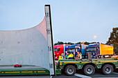A 2, heavy load, wind turbine transport, German Autobahn, truck drivers, break, waiting, convoy, motorway, freeway, speed, speed limit, traffic, infrastructure, Rhynern, Germany