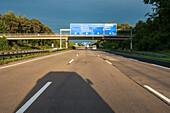 German Autobahn, signage, signs, daytime, shadow, motorway, highway, freeway, speed, speed limit, traffic, infrastructure, Germany