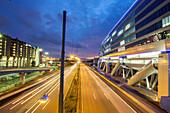 German Autobahn, A 3, railway station, The Squaire office building near Frankfurt Airport, motorway, highway, freeway, speed, speed limit, traffic, infrastructure, night, Frankfurt, Germany