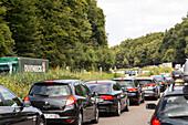 German Autobahn, traffic jam, congestion, A 3, cars, trucks, stopped, halt, motorway, highway, freeway, speed, speed limit, traffic, infrastructure, Germany