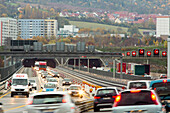 German Autobahn, A4, roadworks, construction site, tunnel, cars, motorway, highway, freeway, speed, speed limit, traffic, infrastructure, Jena,  Germany