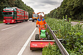 German Autobahn, A 7, motorway maintenance, hedge and verge trimming, freeway, speed, speed limit, traffic, job, danger,  infrastructure, Germany