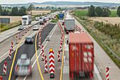 German Autobahn, A 7, motorway maintenance, roadworks, repair, safety measures, freeway, speed, speed limit, traffic, job, danger, infrastructure, Germany
