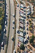 aerial, parked trucks, German Autobahn, A7, truck stop, rest, motorway, highway, freeway, speed, speed limit, traffic, infrastructure, near hildesheim, Germany