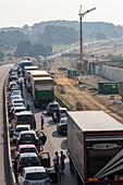 German Autobahn, traffic jam, congestion, A 8, cars, trucks, stopped, halt, motorway, highway, freeway, speed, speed limit, traffic, infrastructure, Germany