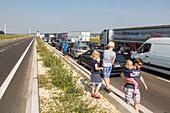 German Autobahn, traffic jam, congestion, blocked, A 8, cars, trucks, stopped, halt, children, motorway, highway, freeway, speed, speed limit, traffic, infrastructure, Germany