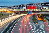 night lights, light trails, streaks, motion, Bosch park house over the Autobahn A 8, neon, advertising, motorway, highway, freeway, speed, speed limit, traffic, infrastructure, Stuttgart, Germany