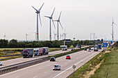 German Autobahn, A 9, traffic lanes, wind turbine, wind farm, motorway, highway, freeway, speed, speed limit, traffic, infrastructure, Germany