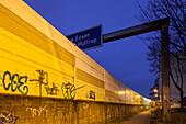 German Autobahn A 40, noise barrier, wall, night, pedestrian path, street lights, houses, urban, motorway, highway, freeway, speed, speed limit, traffic, infrastructure, Essen, Germany