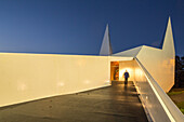 exterior of church at service station truck stop, German Autobahn A 45, entrance, modern architecture, chipboard, road church, motorway, highway, freeway, speed, speed limit, traffic, infrastructure, night, Wilnsdorf, Germany
