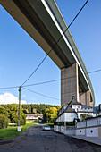 German Autobahn, A 45, township under bridge, pylons, motorway, highway, freeway, speed, speed limit, traffic, infrastructure, Eiserfeld, Germany