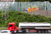 German Autobahn, A 46, truck, noise barrier, wall, motion, motorway, freeway, speed, speed limit, traffic, infrastructure, Essen, Germany