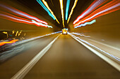 German Autobahn, A71, driving inside the tunnel, tunnel vision, motorway, freeway, speed, speed limit, traffic, infrastructure, Neubrunn, Germany
