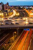 German Autobahn, A 100, Kaiserdamm, city traffic at night, overpass, motorway, freeway, highway, speed, speed limit, traffic, cars, infrastructure, tail lights, lamps, steet lights, lighting, parking, lanes, dynamic, motion, headlights, light trails, stre