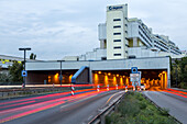 German Autobahn, A 100, tunnel, motorway, freeway, speed, speed limit, traffic, infrastructure, tail lights, lamps, steet lights, lighting, lanes, dynamic, motion, headlights, light trails, streaks, urban, city, tunnel, flats, housing, Germany