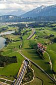 aerial, German Autobahn, A 7, near Füssen, Alps, landscape, motorway, highway, freeway, speed, speed limit, traffic, infrastructure, Germany