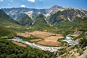 The Vjose river (Aoos river in Greek) valley with the Nemercke mountains in the background, near Permet in southern Albania