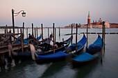 Gondolas on the Grand Canal with the San Giorgio Maggiore Church at the background, Piazza San Marco, Venice, Veneto, Italy, Europe
