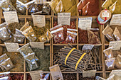 Spices, Market Stall, Vieux Nice, Cours Saleya,  Alpes Maritimes, Provence, French Riviera, Mediterranean, France, Europe