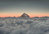 Aerial of Mount Everest over a sea of clouds, Nepal   Asia