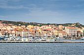 View of the characteristic harbour and blue sea of Caprera, La Maddalena Island, Sardinia, Italy, Mediterranean, Europe