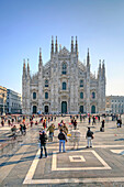 View of the square and the gothic Duomo, the icon of Milan, Milan, Lombardy, Italy, Europe