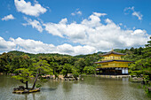 A peaceful lake in front of the golden pavilion of Kinkaku-ji in Kyoto, Japan, Asia
