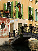 Footbridge across a canal, Venice, Italy
