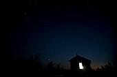Shelter at the peak of Narrow Hills scenic route hilltop at night, Narrow Hills Provincial park, Saskatchewan, Canada