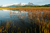 Alaska landscape with mountains reflected in the tranquil water, Katmai National Park, Alaska, United States of America