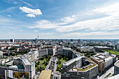 view from Potsdamer Platz to Leipziger Strasse and TV Tower in the background, Berlin, Germany