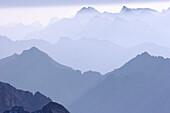 Panorama über der Zugspitze und Reintal, Zugspitze, Bayern, Deutschland