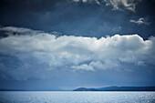 Sailing yachts with departing thunderstorm, Kornati Islands, Adriatic Sea, Croatia
