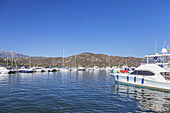 Boats in port of Saint-Florent, Corsica, Southern France, France, Southern Europe