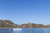 Sail boat near Saint-Florent, Corsica, Southern France, France, Southern Europe