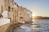 Houses by the Mediterranean Sea in Saint-Florent, Corsica, Southern France, France, Southern Europe