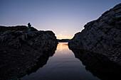 Lake Edersee Atlantis, the half island of Scheid surfaces at dusk Hammerbergspitze, Scheid, Edersee, Hesse, Germany, Europe