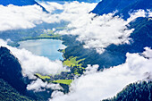 Blick auf Achensee, von Mondscheinspitze, Naturpark Karwendel, Karwendel, Tirol, Österreich