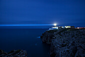 Lighthouse with light-ray, Cabo de São Vicente near Sagres, Algarve, Portugal, Europe