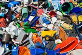 Colourful rubbish, plastic waste sorted for recycling, Freiburg im Breisgau, Baden-Wuerttemberg, Germany