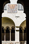 The sundial in the courtyard of the Franciscan cloister, Bolzano, South Tyrol, Italy