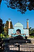 The mosque of the Islamic centre Hamburg at lake Aussenalster, Hamburg, Germany