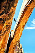 Rock climber hanging on rope on arch