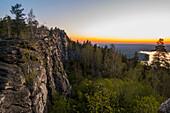 Sunset over mountain rocks