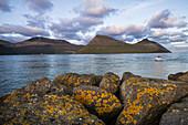 Wunderschöner grün bewachsener Berg am Meer, Färöer Inseln