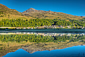 Lake Champfer with Piz Nair, Champfer, Engadine, Canton Grisons, Switzerland